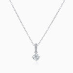 Moissanite Necklace With Four Prong Round Solitaire Pendant Sterling Silver 1 Carat