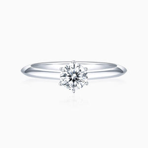 Moissanite Engagement Rings Six Prong Settting Round Solitaire 925 Sterling Silver 1 Carat
