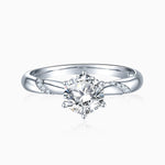 Moissanite Engagement Rings Solitaire With Twisted Micro Pave Side Accents 1 Carat