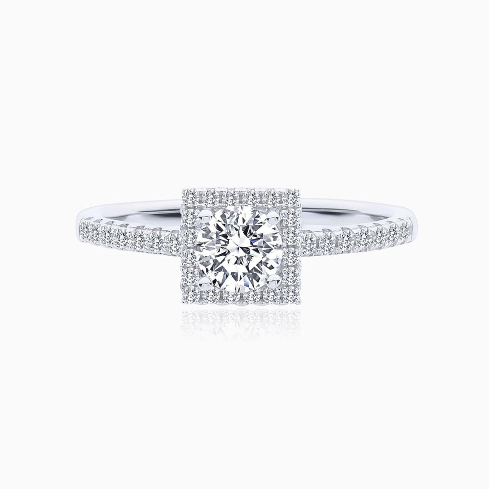 Moissanite Engagement Rings Four Prong Setting Square Halo Round Solitaire Pave 1 Carat