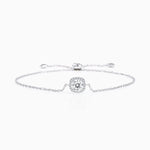 Moissanite Bracelet With Round Halo Solitaire Pendant Sterling Silver White Gold Plating 1 Carat