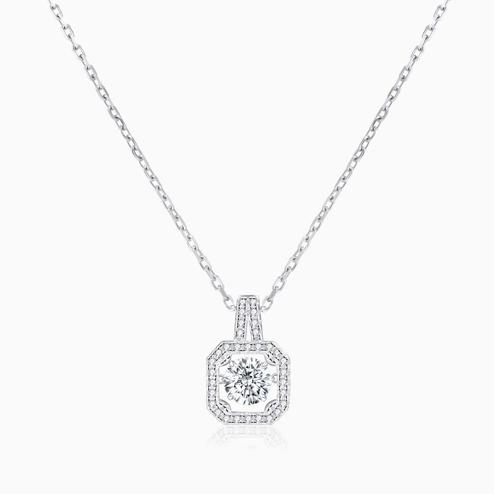 Bezel Set Moissanite Necklace Round Solitaire Micro Pave With Side Accents 1 Carat