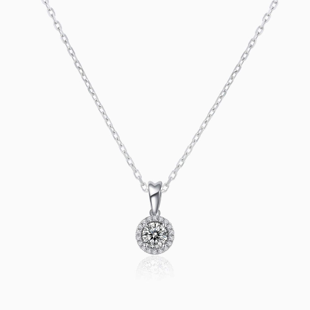Moissanite Necklace With Halo Round Solitaire Pendant Sterling Silver 1 Carat