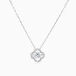 Moissanite Necklace With Round Solitaire Pendant Micro Pave Side Accents Stones 1 Carat