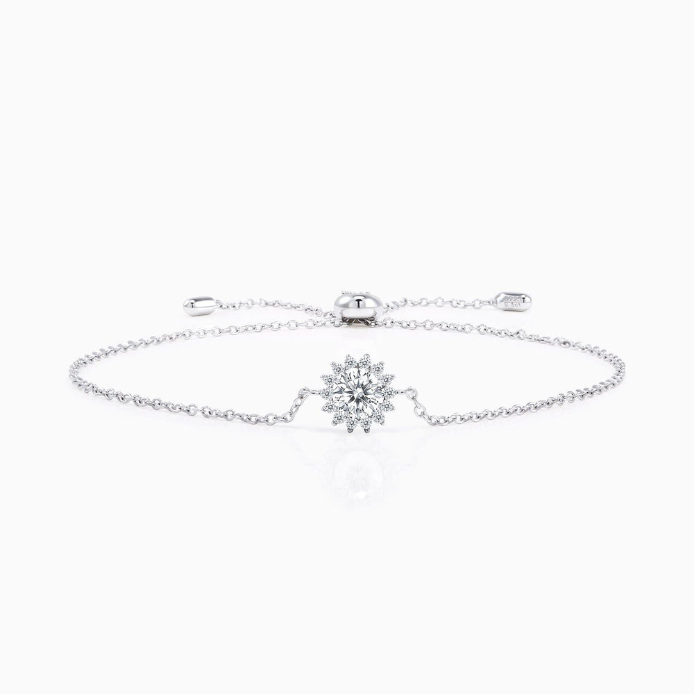 Moissanite Bracelet With Round Solitaire Pendant Radial Micro Pave With Side Stones 1 Carat