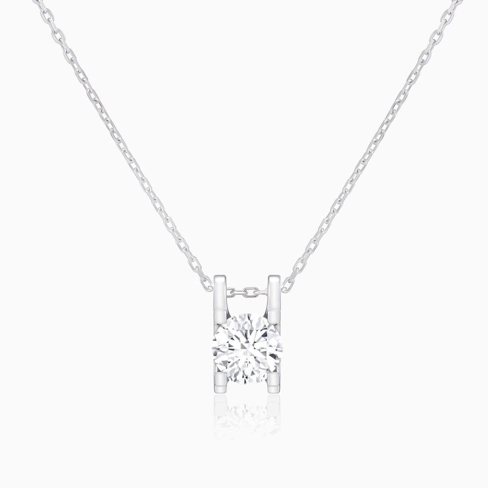 Moissanite Necklace With Round Solitaire Stone H-Shaped Pendant 1 Carat