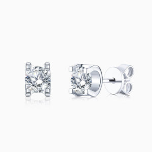 Moissanite Stud Earrings Four Prong Solitaire Gemstones Sterling Silver 1 Carat