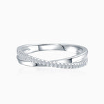 Moissanite Wedding Bands Criss Cross Shape Micro Pave With Side Accents
