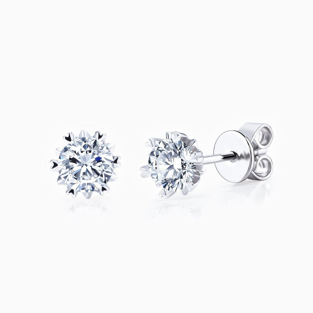 Moissanite Stud Earrings Six Prong Round Solitaire Gemstone 1 Carat