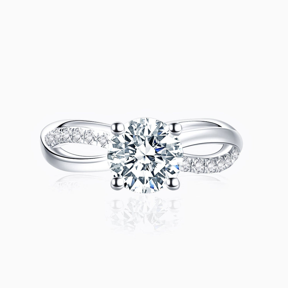 Moissanite Engagement Rings Twisted Criss Cross Four Prong Solitaire Stones 1 Carat