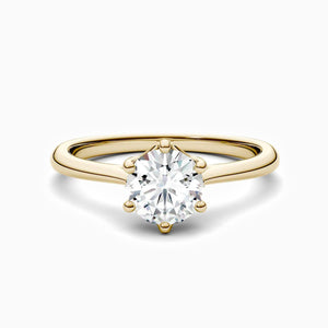 Moissanite Engagement Rings Six Prong Round Solitaire Stones Gold Plating 1 Carat