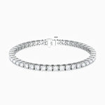 Classic Four Prong Round Moissanite Tennis Bracelet 925 Sterling Silver Band White Gold Plating 7.20 Carat