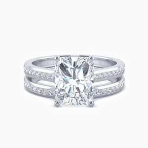Moissanite Bridal Sets Radiant Cut Solitaire Rings With Side Accents Sterling Silver White Gold Plating 2.7 Carat