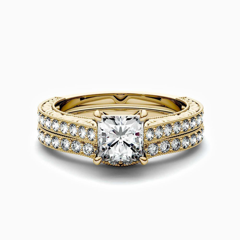 Moissanite Bridal Sets Square Solitaire Ring With Side Accents 1.51 Carat Gold Plating