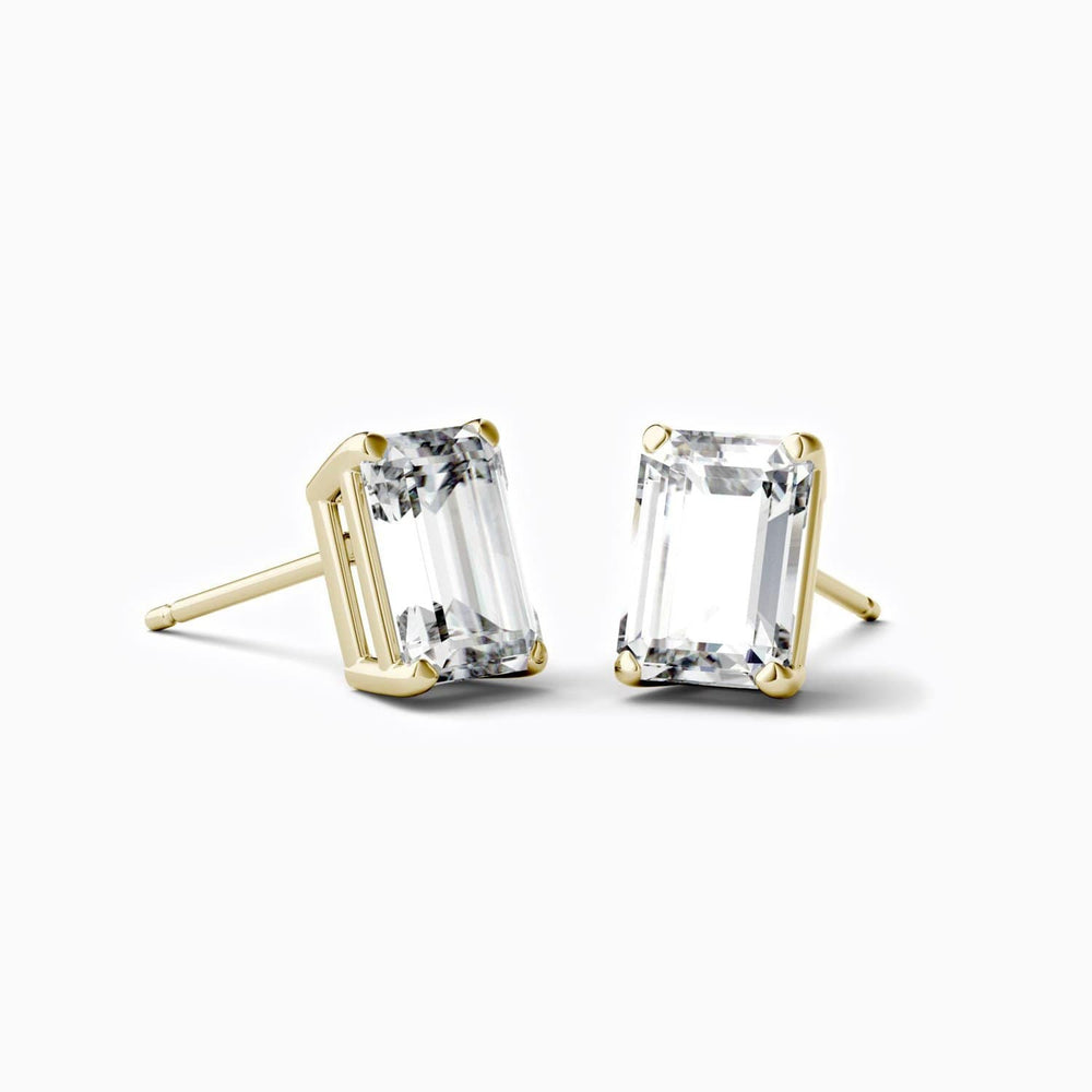 Trifairy D Grade Moissanite Stud Earrings Four Prong Emerald Cut Gemstones Solitaire Gold Color 2.02 Carat