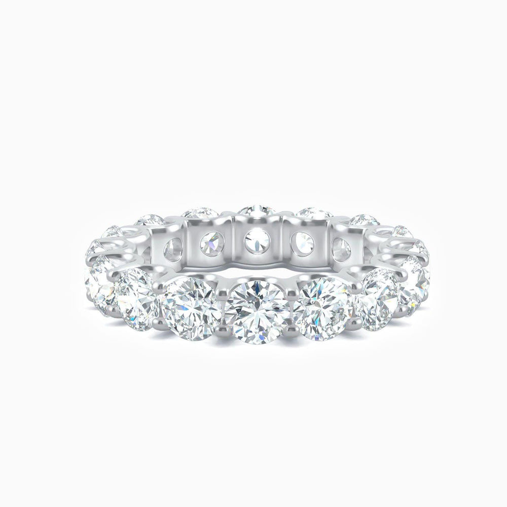 Round Moissanite Wedding Bands Micro Pave With 16 Side Stones 5.28 Carat
