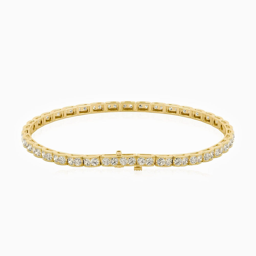 Round Double-stone Bezel Moissanite Tennis Bracelet In Gold Color 1.60 Carat