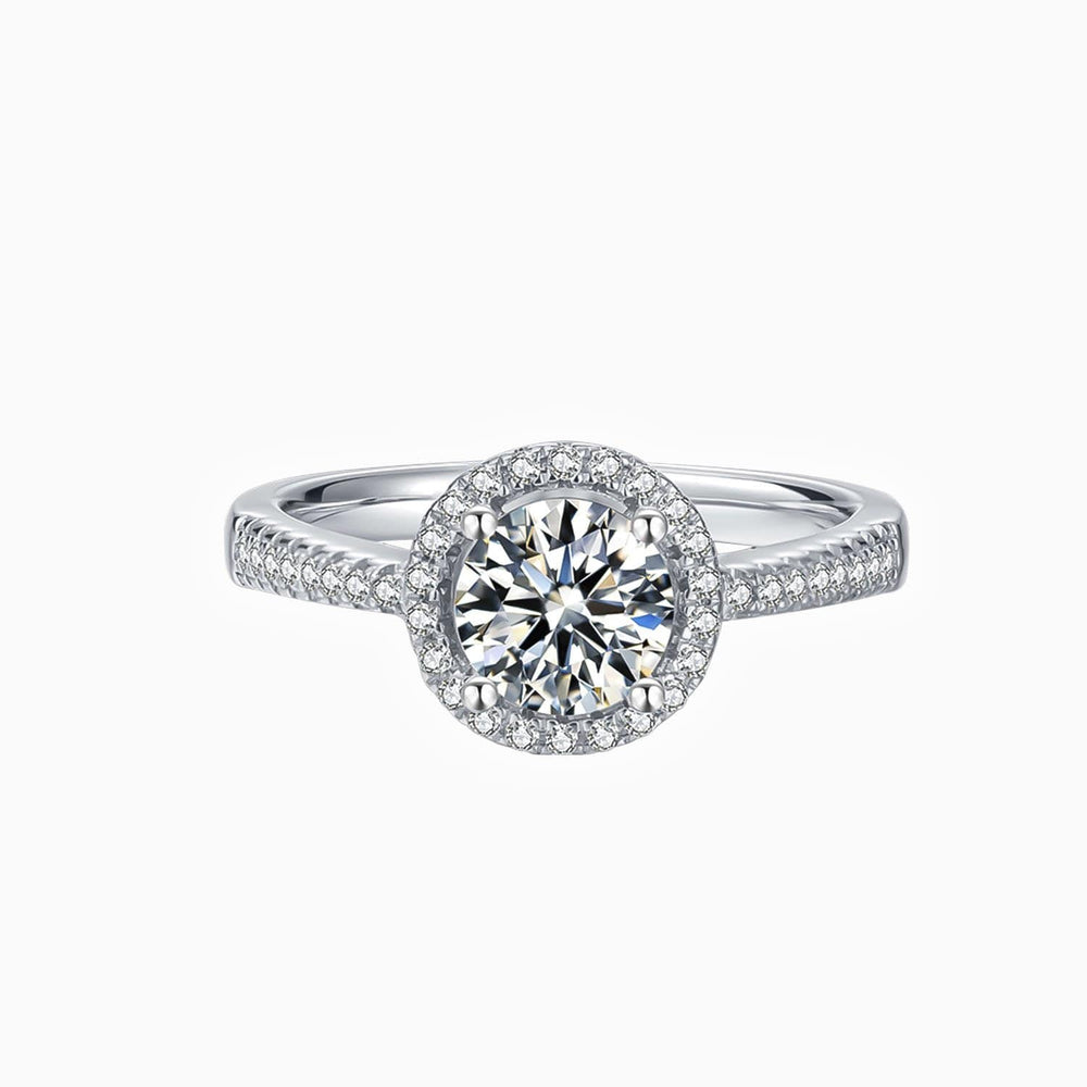 Moissanite Halo Engagement Rings Round Solitaire With Micro Pave Side Stones 1 Carat