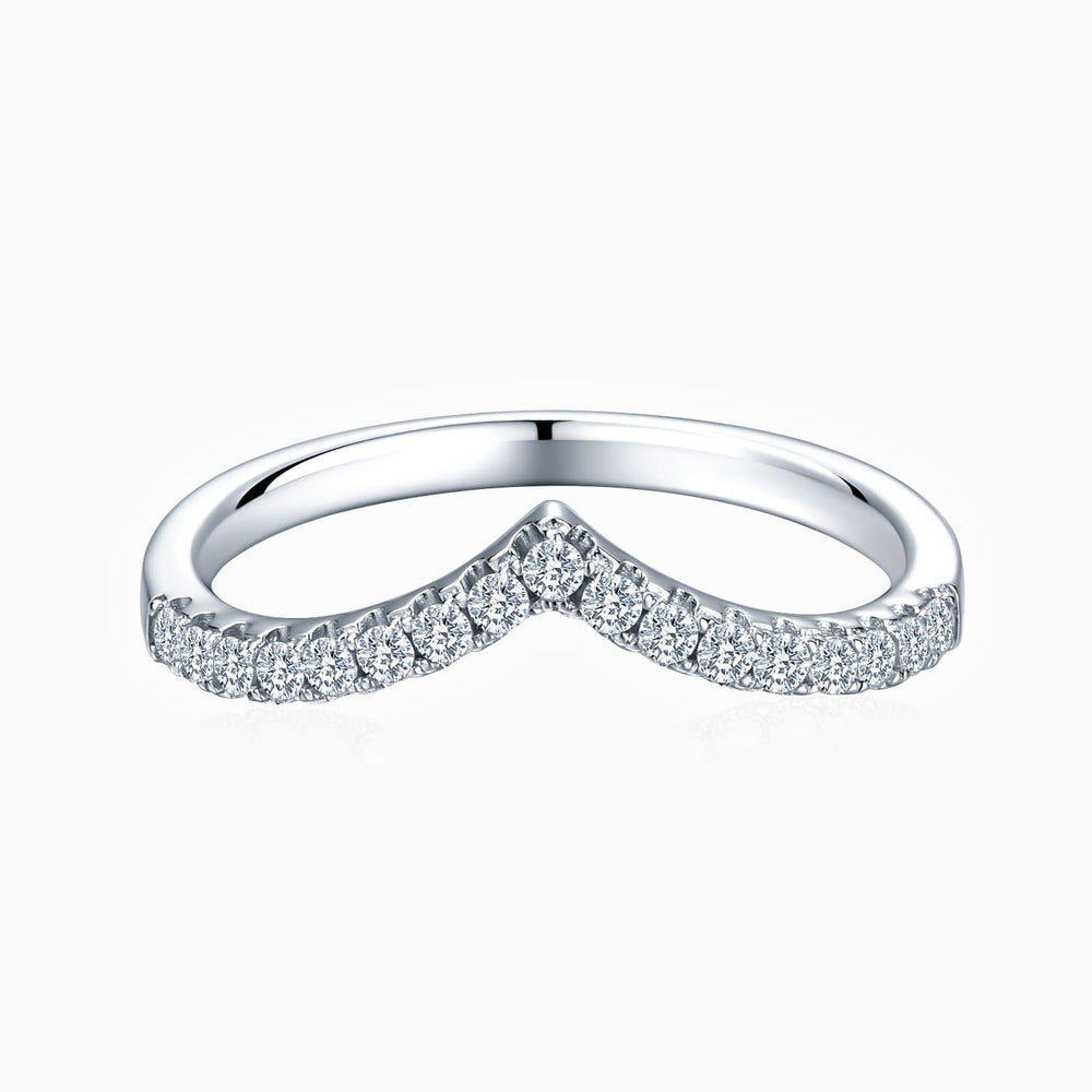 Moissanite Wedding Bands Wave-shaped Micro Pave With Side Accents Stones