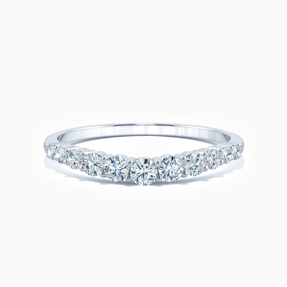 Round Moissanite Wedding Bands Micro Pave With Side Accents 0.36 Carat