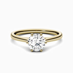 Round Moissanite Engagement Rings Six Prong Solitaire Stone Gold Color 3 Carat