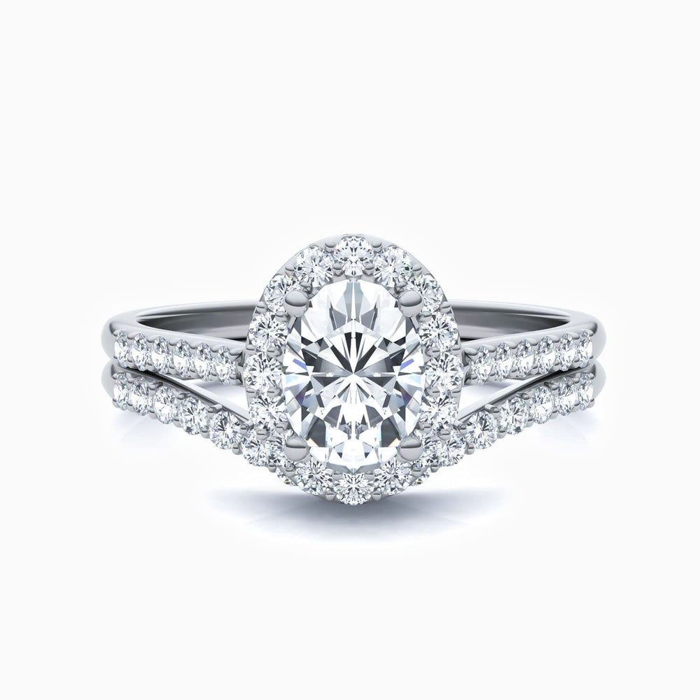 Trifairy D Grade Moissanite Bridal Sets Oval Solitaire Rings Micro Pave With Side Stones 1.36 Carat