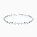 Round Link Moissanite Tennis Bracelet In Sterling Silver White Gold Plating 0.93 Carat