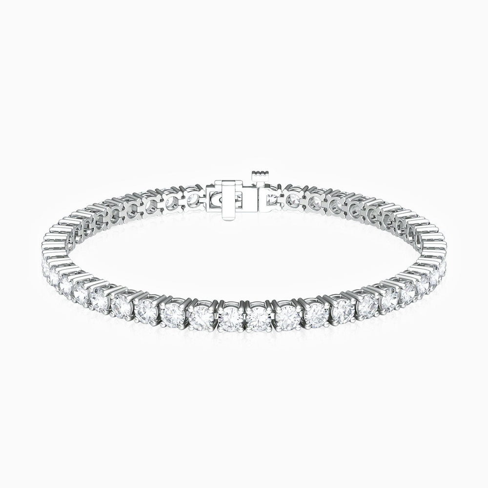 Classic Four Prong Round Tennis Bracelet 5A Grade Cubic Zirconia Sterling Silver 7.20 Carat