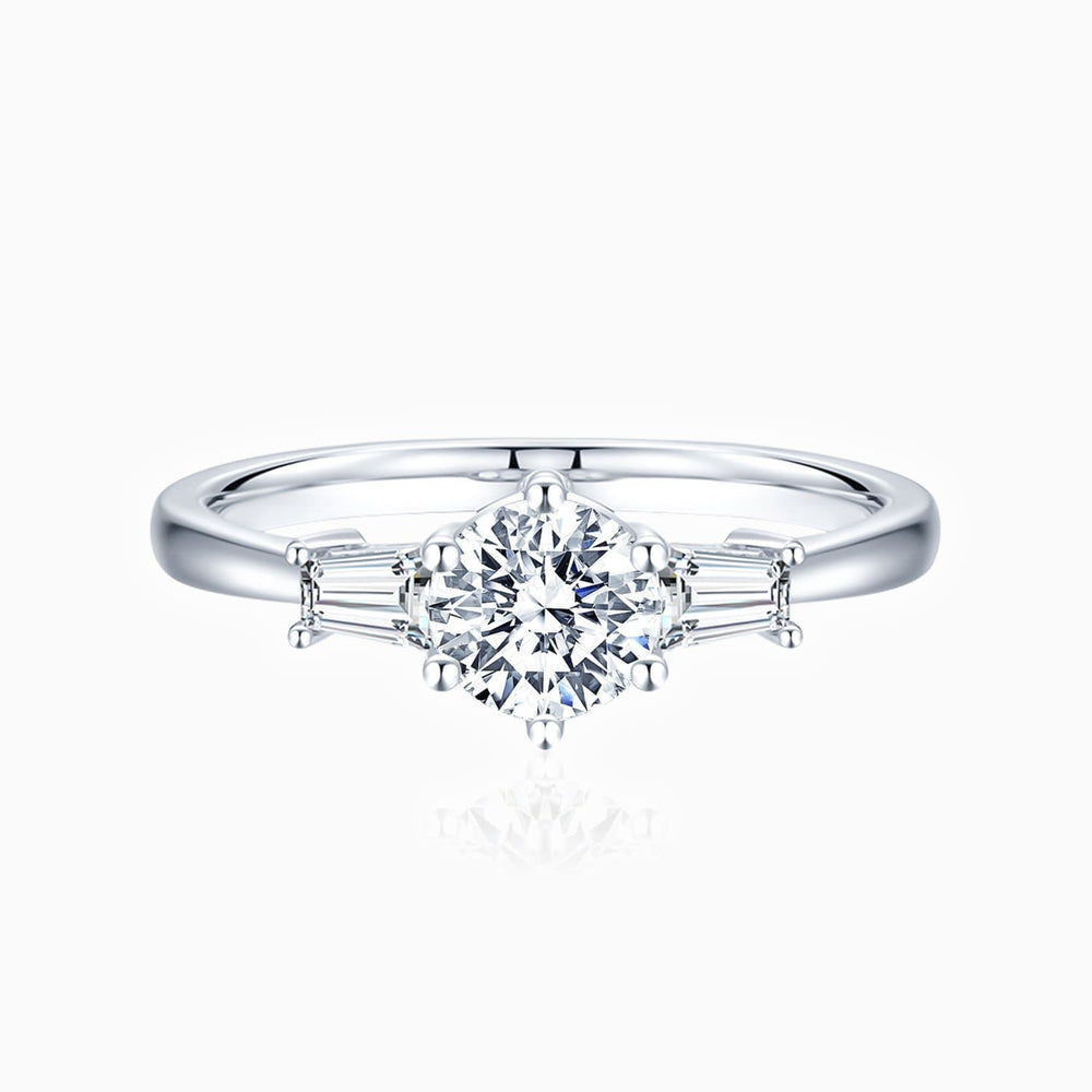 Moissanite Engagement Rings Round Solitaire With Emerald Side Stones 1 Carat