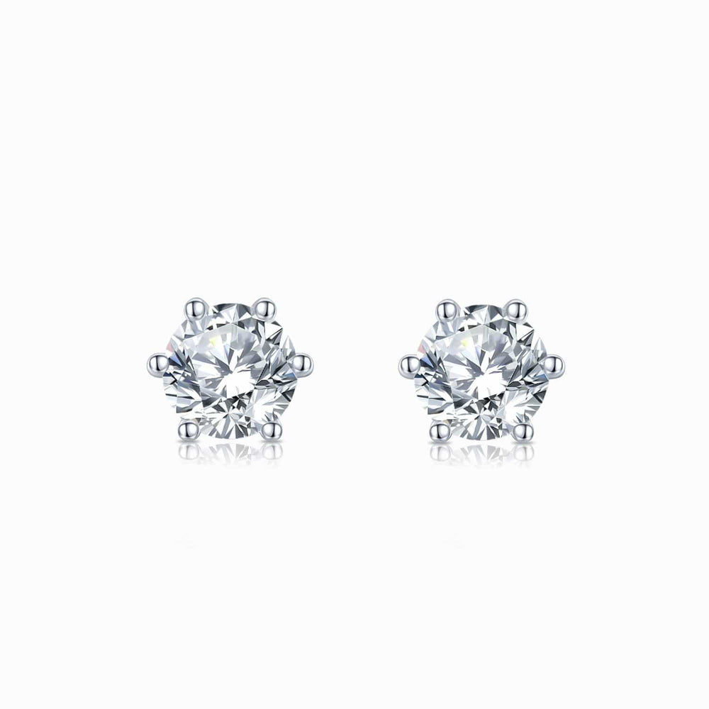 Moissanite Stud Earrings Six Prong Round Colorless Solitaire 1 Carat