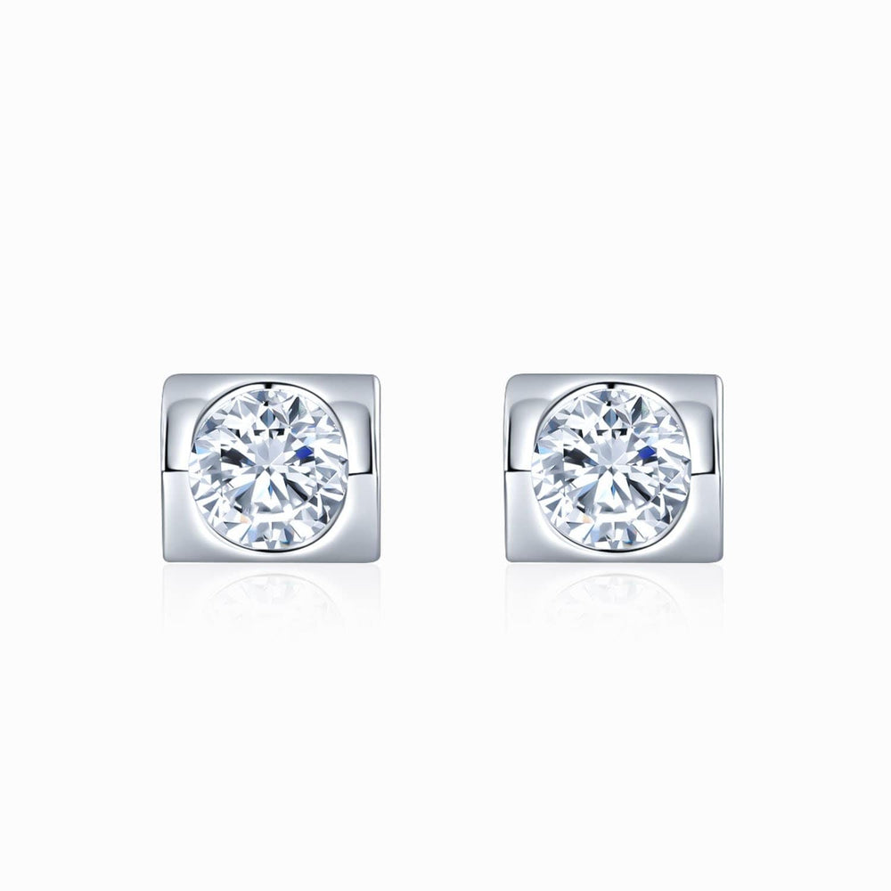 Moissanite Stud Earrings Heart-shaped Bezel Round Colorless Solitaire 1 Carat