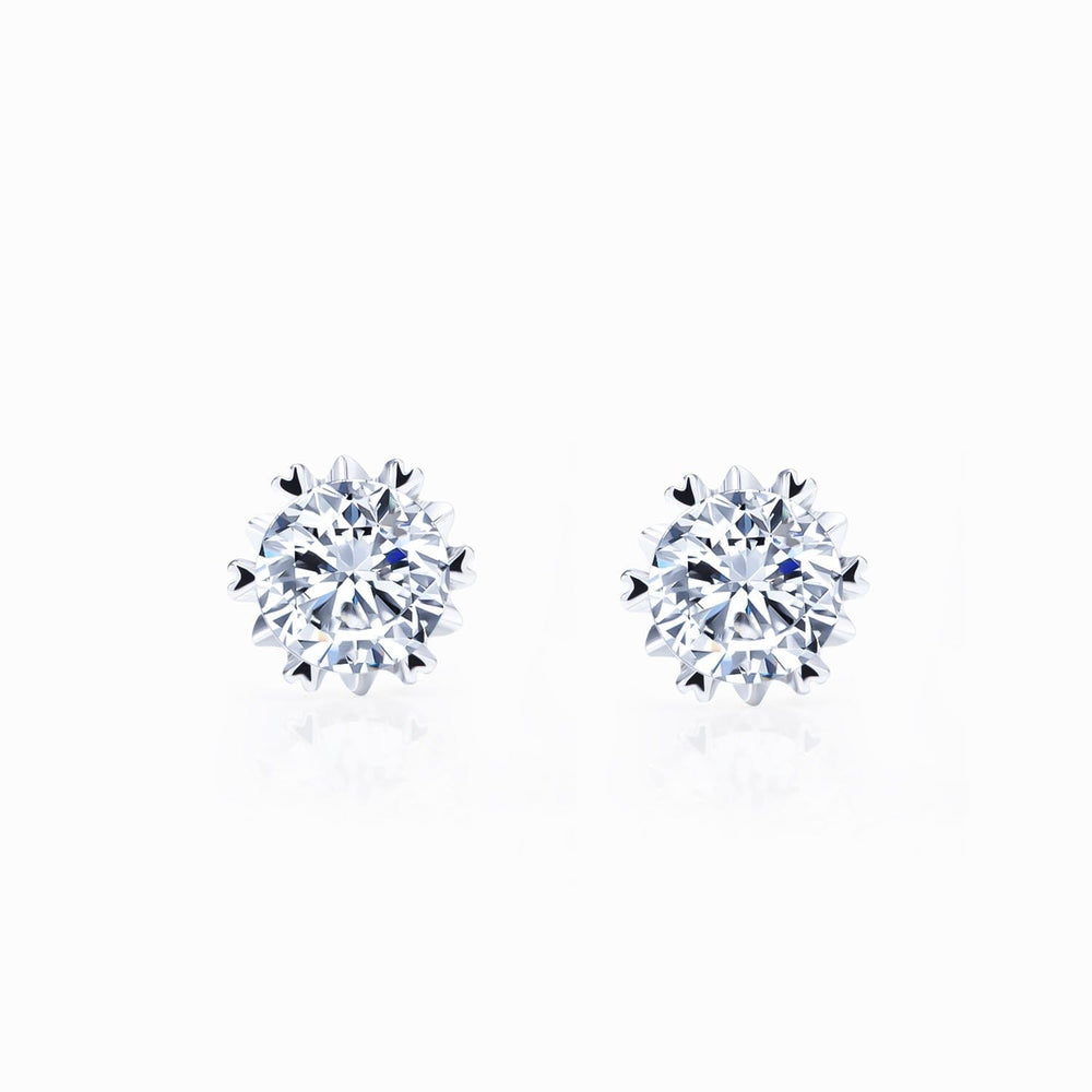 Moissanite Stud Earrings Six Prong Round Solitaire Gemstone White Gold 1 Carat