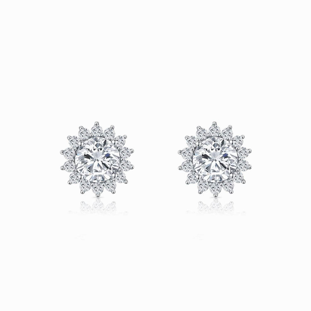 Moissanite Stud Earrings Round Solitaire Micro Pave With Side Stones 1 Carat