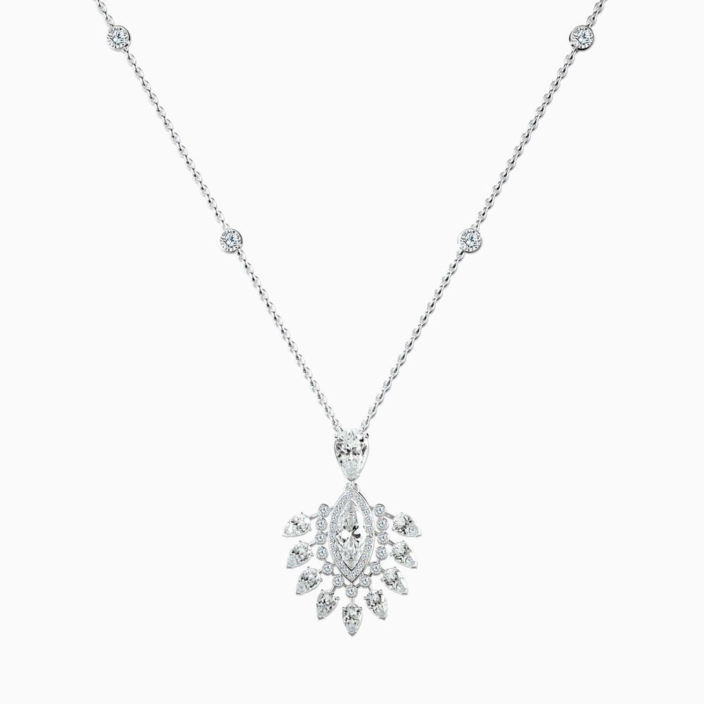 Trifairy™ 2021 New Designer Style Gorgeous Queen Moissanite Pendant Necklace Halo Pear White Gold Color