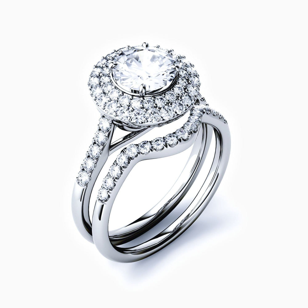 Moissanite Bridal Sets Halo Round Solitaire Pave With Side Stones 925 Sterling Silver White Gold Plating 1.90 Carat