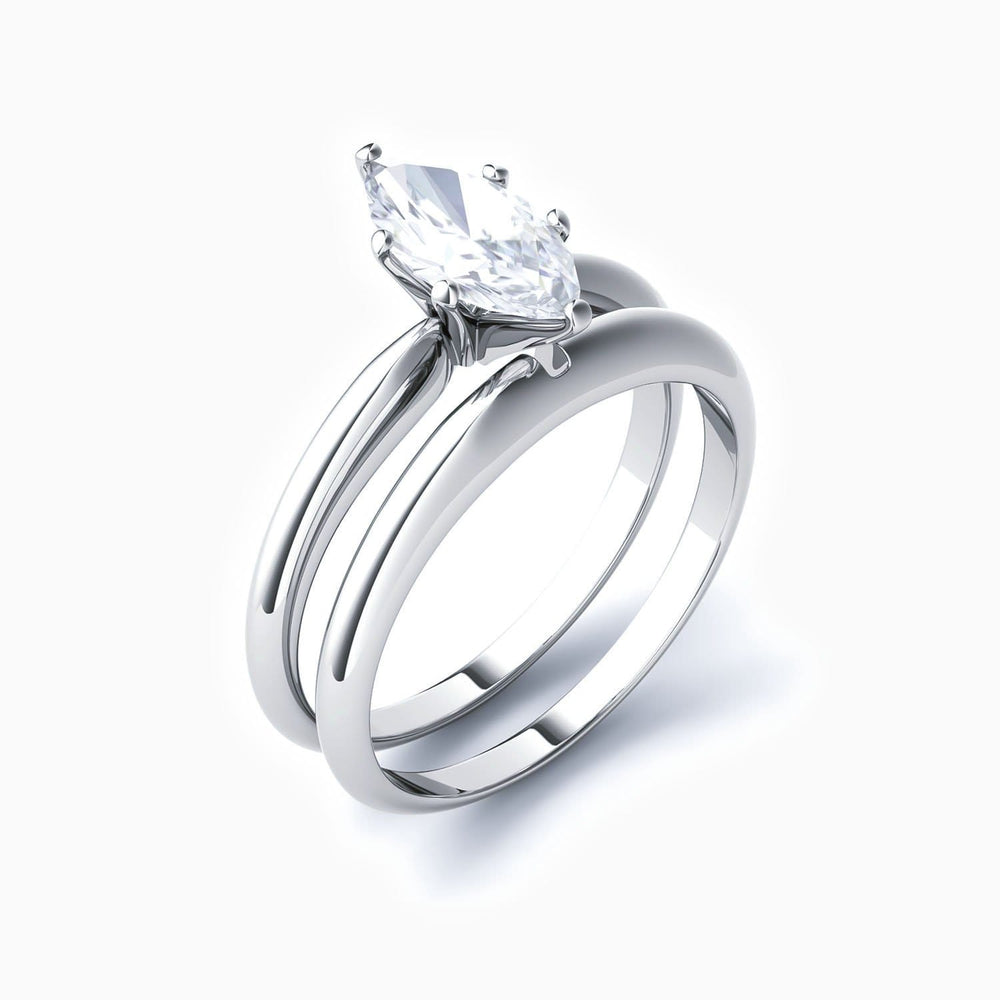 Moissanite Bridal Sets Six Prong Marquise Solitaire Rings 925 Sterling Silver White Gold Plating 0.5 Carat