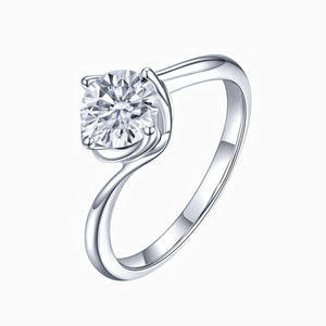 Curved Moissanite Engagement Rings Round Solitaire Without Side Stones 925 Sterling Silver Band White Gold Plating1 Carat