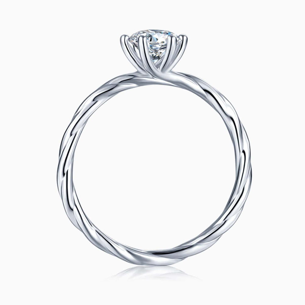 Moissanite Engagement Rings Twisted Vine Shaped Six Prong Solitaire Stones 1 Carat