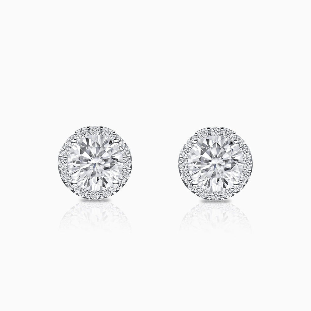 Moissanite Stud Earrings Four Prong Setting Halo Round Solitaire Stone Trifairy 2021 New Designer Style