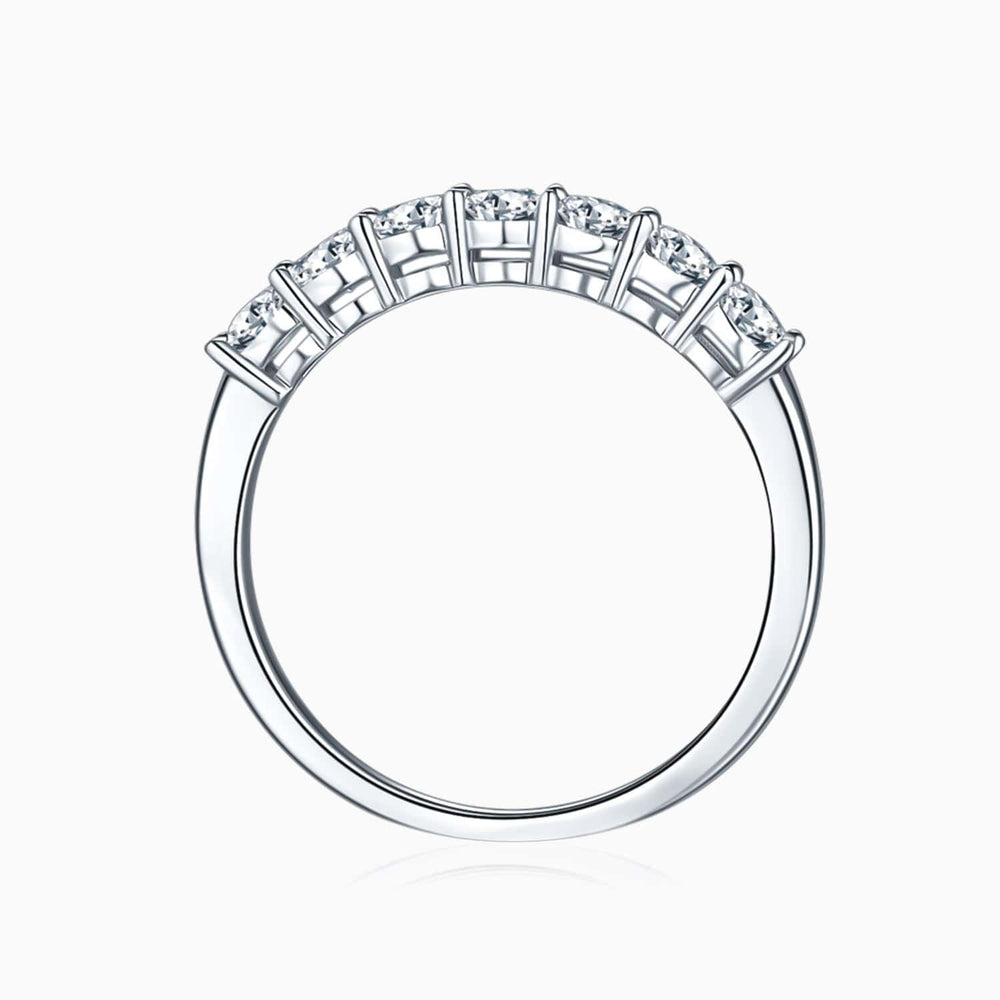 Womens Moissanite Wedding Bands Centre Micro Pave Seven Stones Shared Prong Set Woman