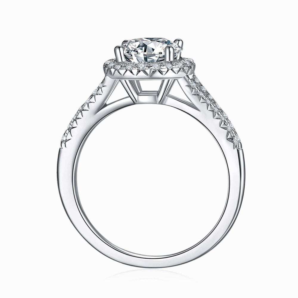 Moissanite Engagement Rings Halo Round Solitaire Micro Pave With Side Stones 1.5 Carat