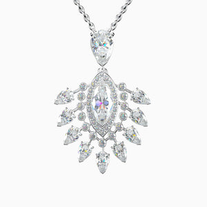 Trifairy 2021 New Designer Style Gorgeous Queen Moissanite Pendant Necklace Halo Pear