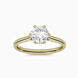 Load image into Gallery viewer, Round Moissanite Engagement Rings Six Prong Solitaire Stone Gold Color 3 Carat