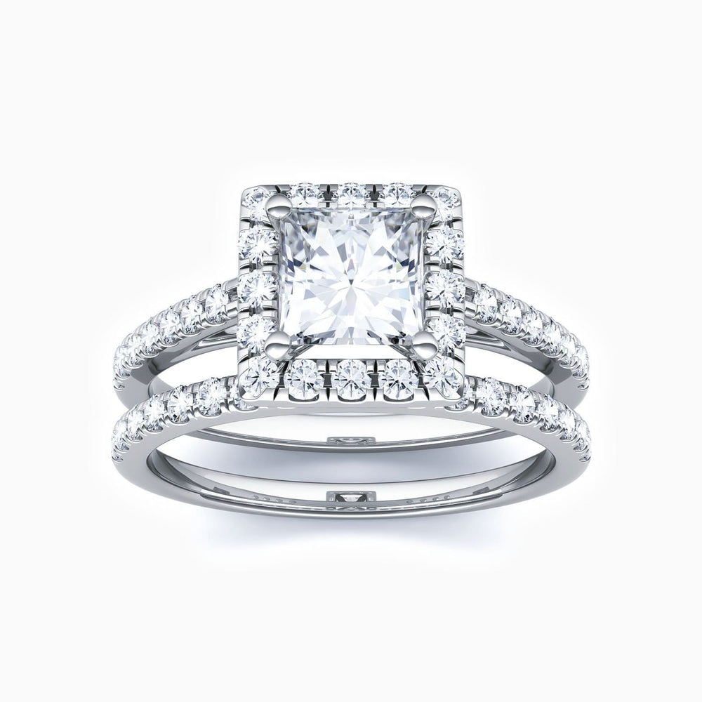 Moissanite Bridal Sets Halo Square Solitaire Ring Micro Pave With Side Accents 1.72 Carat