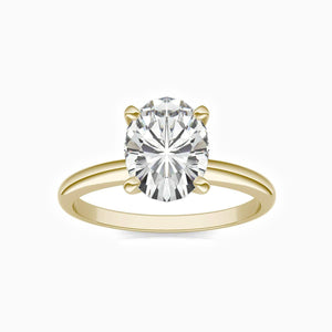 Moissanite Engagement Rings Four Prong Oval Solitaire Stackable Rings Gold Plating 2.1 Carat