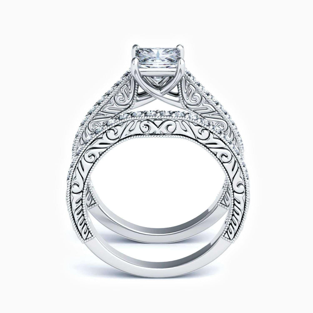 Moissanite Bridal Sets Square Solitaire Ring With Side Accents 1.51 Carat