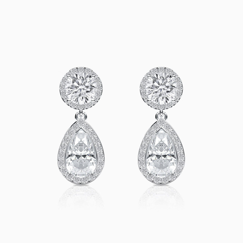 Moissanite Earrings Halo Solitaire Gemstone Teardrop Pendant 925 Sterling Silver White Gold Plating Trifairy 2021 New Designer Style