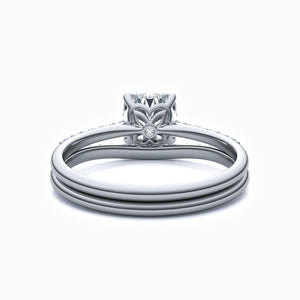 Moissanite Bridal Sets Cushion Solitaire Micro Pave With Side Accents 1.33 Carat