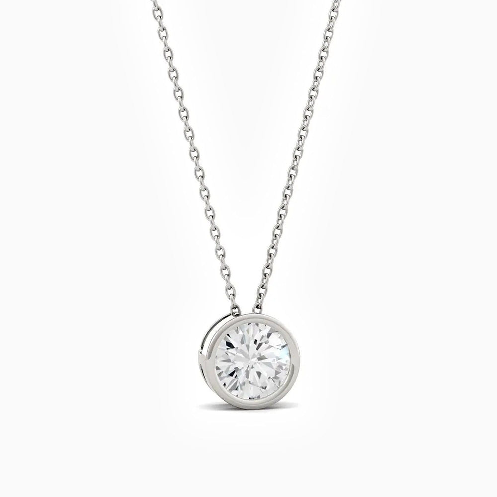 0.5 Carat Bezel Set Round Solitaire Pendant Moissanite Necklace