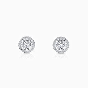 Moissanite Stud Earrings Four Prong Setting Halo Round Solitaire Stone Pave Accents Trifairy 2021 New Designer Style
